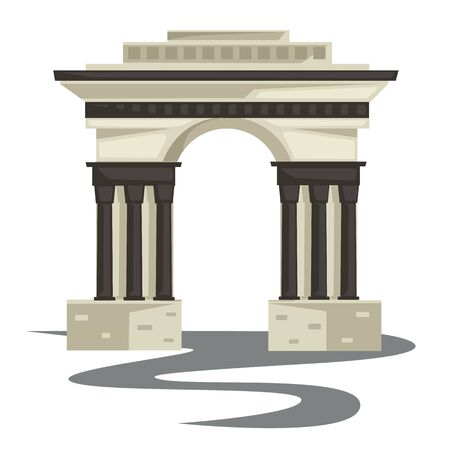 Empire style arch or building, columns or pillars isolated construction