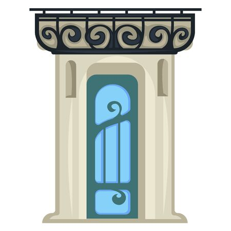 1900s style entrance door, vintage construction isolated doorway in framing Illustration