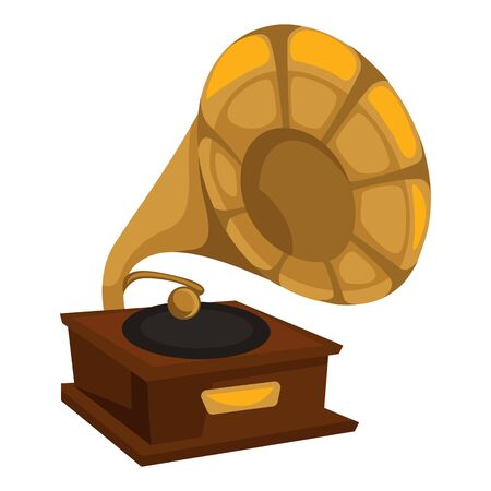 Vinyl disc playing, gold gramophone in 1910s style isolated retro object vector. Vintage music player, golden tube and wooden stand. Melody or song listening appliance, musical record playing