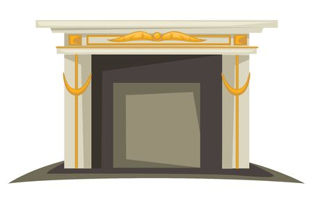 Fireplace isolated interior design element, gold decor on mantlepiece