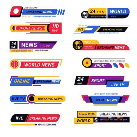 TV live report headers, breaking news titles or bars