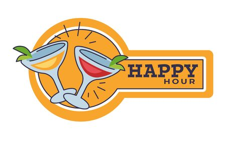 Happy hour in pub or bar isolated icon, cocktail party Archivio Fotografico - 129761428