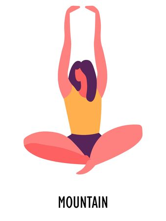 Mountain pose, yoga position or asana, sport or fitness Stock Illustratie