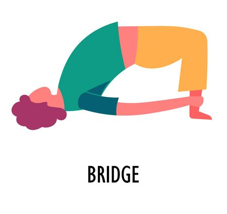 Yoga position or asana, bridge exercise, sport or fitness, isolated female character vector. Woman bending back and holding ankles, girl working out. Meditation, oriental culture, body stretching