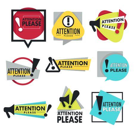 Avertissement ou prudence, attention, veuillez signer des icônes isolées