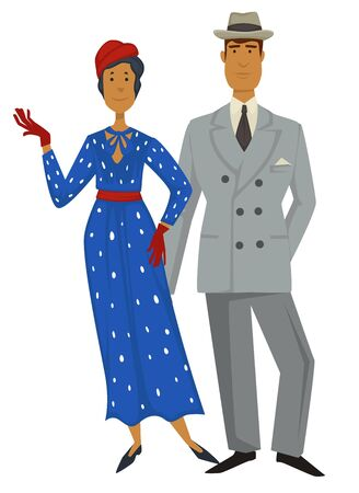 Retro fashion, 1930s style clothes, man and woman