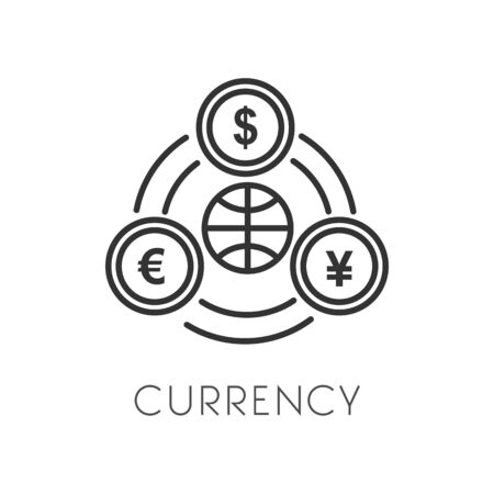 Currency and money, payment or cash isolated outline icon