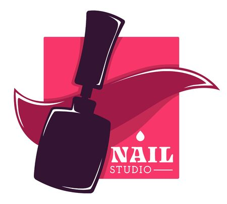 Nail studio and hand care, beauty salon isolated icon 写真素材 - 129761440