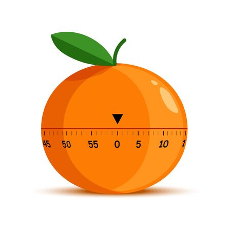 Orange shape timer or time measuring tool isolated object