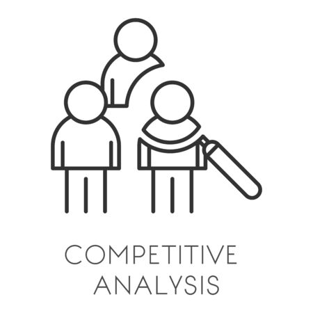 Startup and business, competitive analysis or data analyzing isolated outline icon Ilustração Vetorial