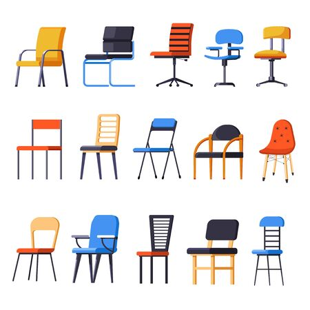 Chairs or armchairs, seats or interior design element isolated objects