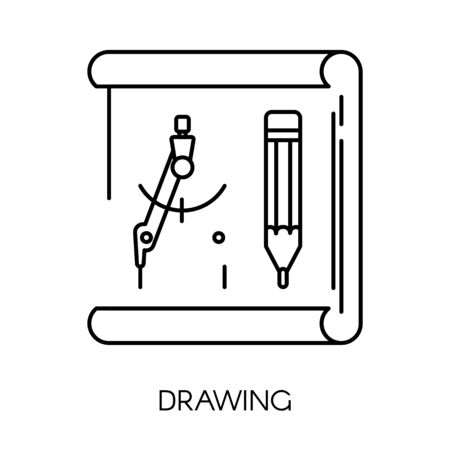 Drawing and stationery isolated outline icon, pencil and divider Illustration