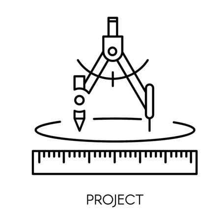 Construction project, architect drawing, compass or divider, pencil and ruler
