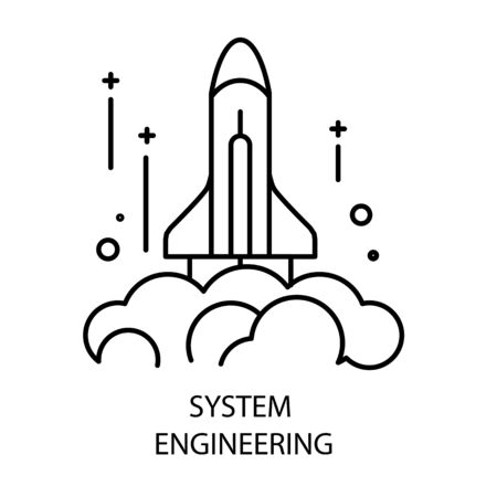System engineering and rocket launch isolated outline icon