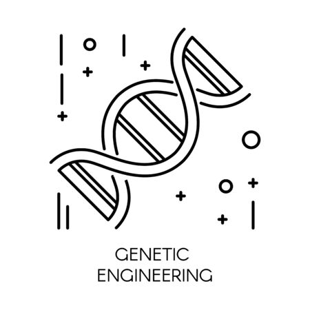 Genetic engineering, DNA molecule isolated outline icon