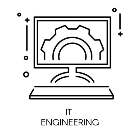 App development and it engineering isolated outline icon