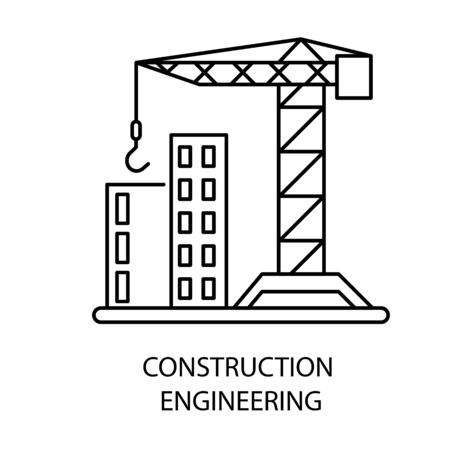 Construction engineering isolated outline icon, house building Иллюстрация
