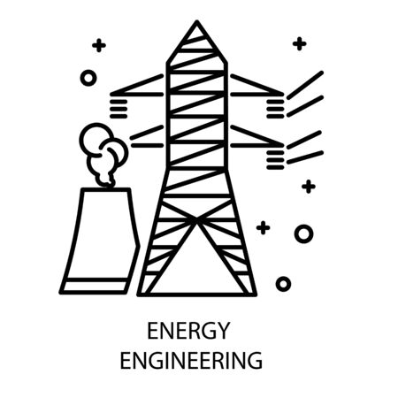 Water station and nuclear plant, energy engineering isolated icon