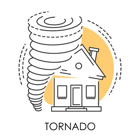 Tornado isolated icon, natural disaster and broken house Иллюстрация
