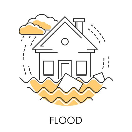 Flood isolated icon, house drowning in water, natural disaster Stock Vector - 129761754