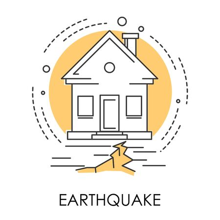 Earthquake isolated icon, house and ground destruction, natural disaster Illustration