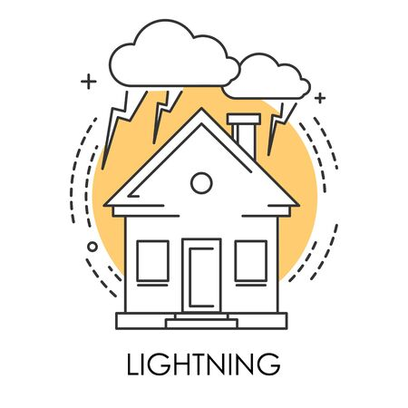House and lightning or thunder isolated icon, natural disaster