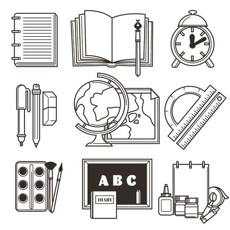 Education isolated icons, school or college outline symbols
