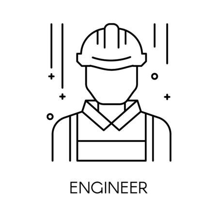 Engineer or technical service isolated outline icon, engineering support