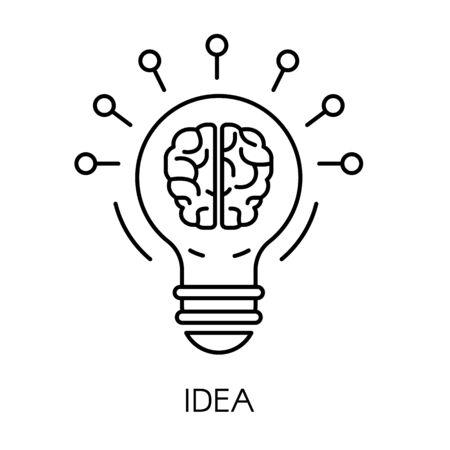 Idea symbol, light bulb and brain isolated outline icon Иллюстрация