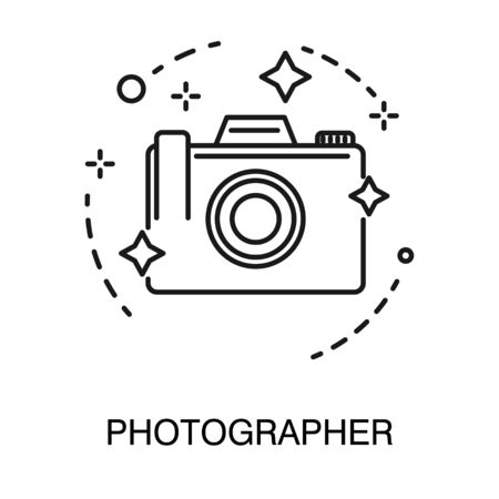 Photo camera isolated outline icon, photographer services 일러스트