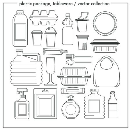 Disposable tableware and plastic packaging isolated outline icons