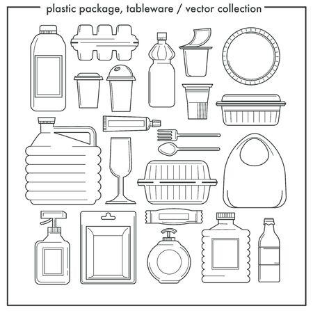 Jednorazowe zastawy stołowe i plastikowe opakowania izolowane ikony konturu