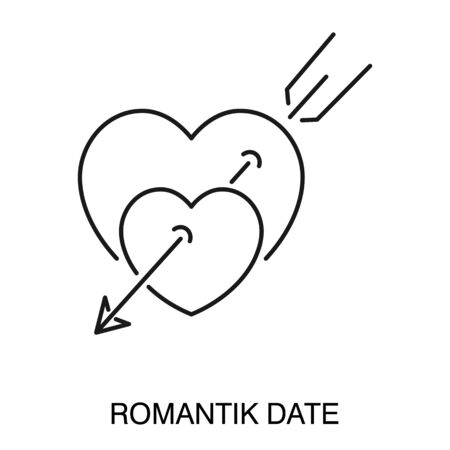 Romantic date symbol, heart pierced with arrow isolated outline icon