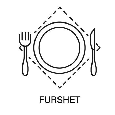Plate with fork and knife on kerchief, furshet sign isolated outline icon Illustration