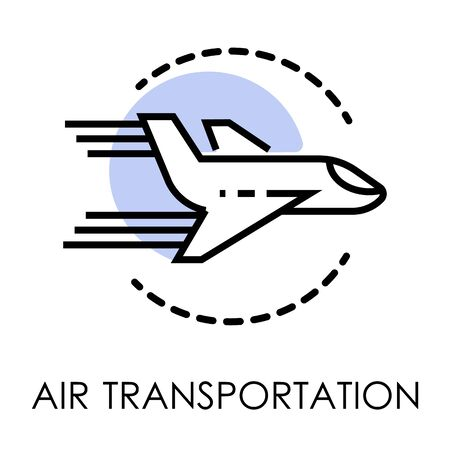 Air transportation isolated icon, airport and cargo shipping Vector Illustration