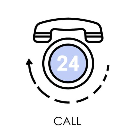 Call center, telephone isolated icon, support or feedback