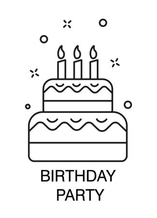 Cake with candles, birthday party celebration isolated outline icon