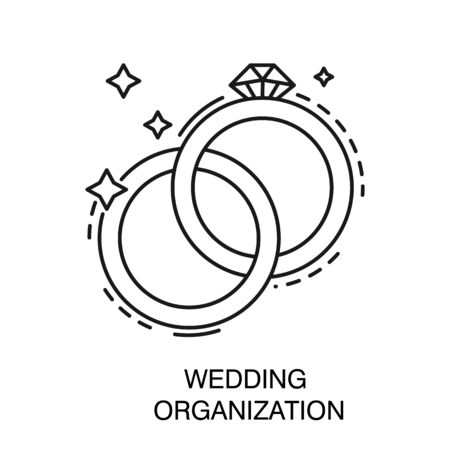 Bridal or engagement rings isolated icon, wedding organization Иллюстрация