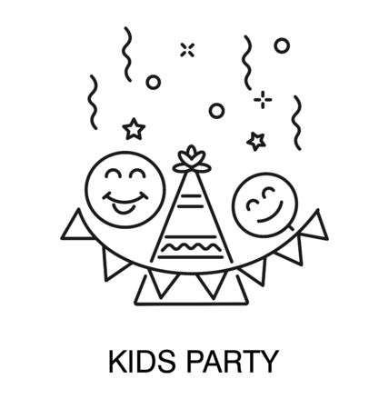 Birthday kids party isolated icon, cone hat and garland