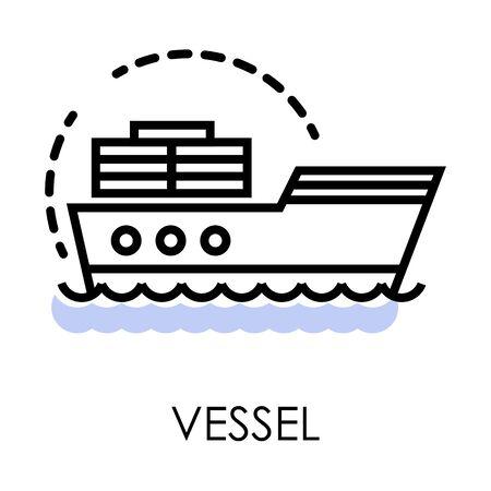 Sailboat or cargo boat, vessel or ship isolated icon Ilustração