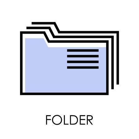 Desktop computer isolated icon, folders stack symbol