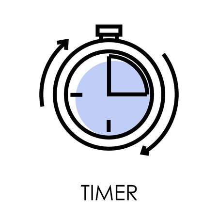 Stopwatch or timer clock isolated outline icon, fast delivery