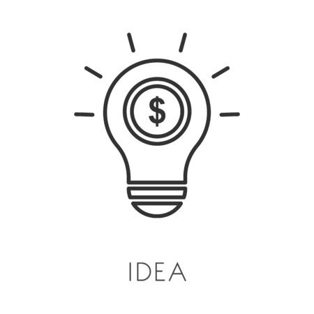 Idea or thought, invention isolated outline icon, light bulb and coin