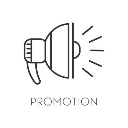 Loudspeaker or megaphone, bullhorn, promotion isolated linear icon