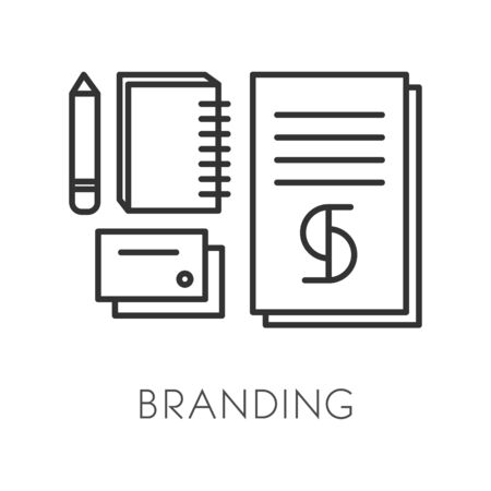 Brand or trademark creation, branding technology isolated linear icon