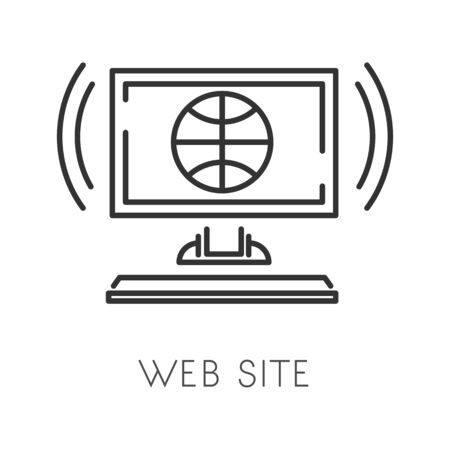 Planet or globe linear symbol, web site creation isolated icon