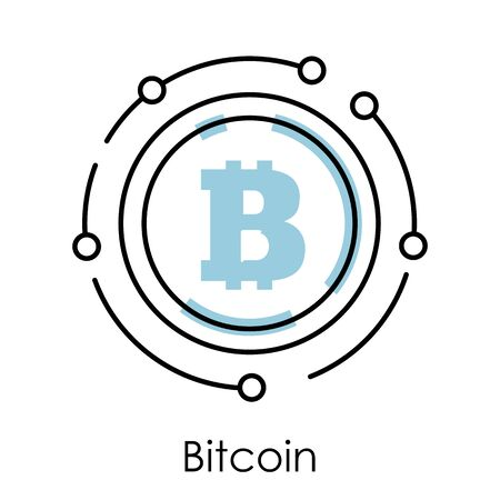 Bitcoin isolated linear icon, cryptocurrency or digital money