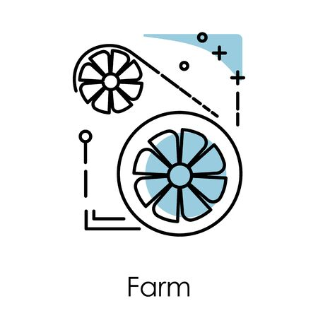 Video card, server farm isolated icon, cryptocurrency mining