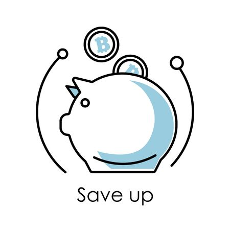 Save up isolated icon, piggy bank and falling bitcoins Stock Illustratie