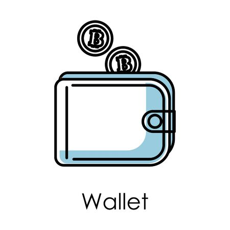 Wallet isolated icon, bitcoin mining and cryptocurrency business Stock Illustratie